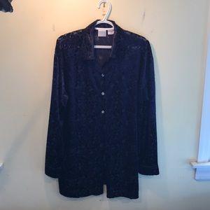 Dark blue Moda Int'l velvet blouse